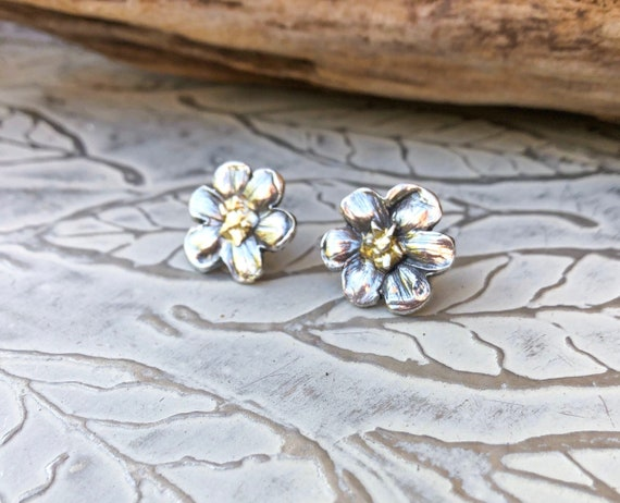 Natalie Earrings, Flower Earrings, Bridal Bouquet Earrings, Wedding Day Earrings, Flower Bud Earrings, Silver Studs