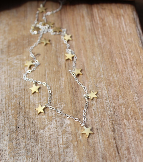 Sterling Silver and Gold Star Necklace, Celestial Necklace, Two Toned Necklace, Gold and Silver Necklace, Layering Necklace