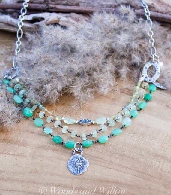 Multi Layered Necklace, Artisan Necklace, Queen Anne's Lace Necklace, Chrysoprase Necklace, Prehnite Necklace