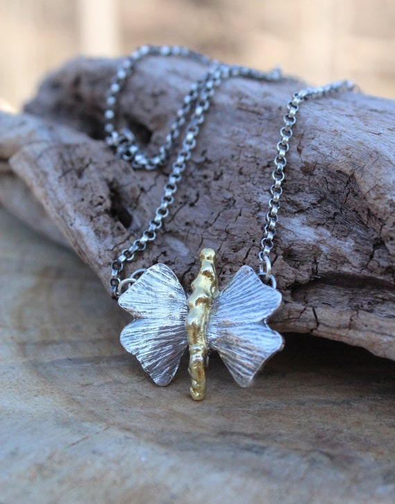 Silver Ginkgo Leaf Necklace, Sterling Leaf Necklace, Gold Branch Necklace, Woodland Necklace, Butterfly Necklace