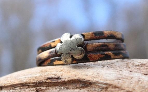 Flower Wrap Bracelet, Carved Flower Bracelet, Leather Bracelet, Wrap Bracelet, Pyrite Bracelet, Leopard Print  Bracelet