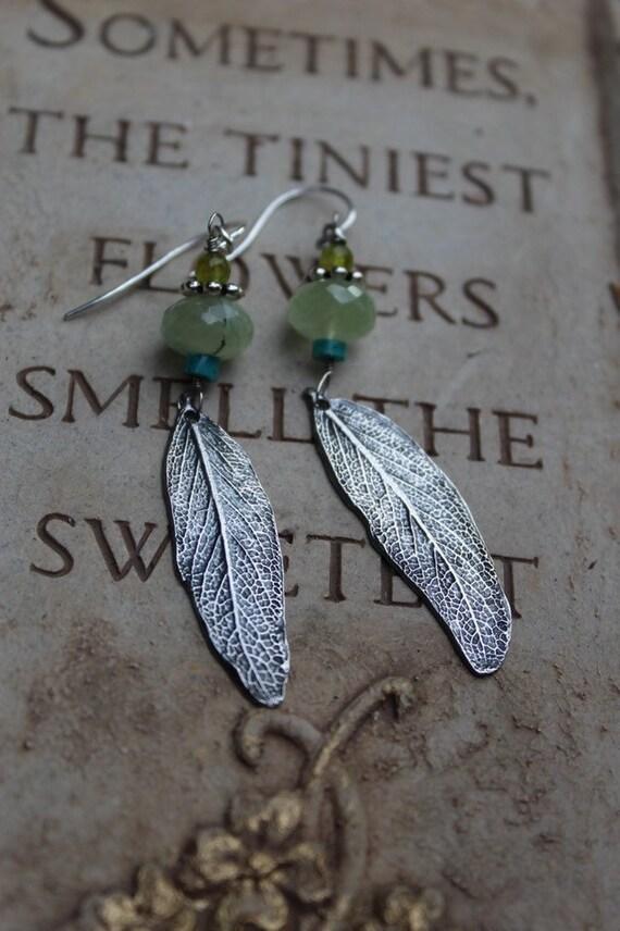 Silver Leaf Earrings, Sterling Silver Botanical Earrings, Sage Leaf Earrings, Prehnite Earrings, Turquoise Earrings