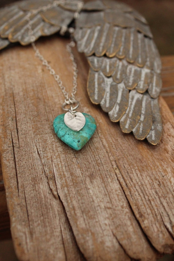NATURAL Turquoise Heart Necklace, Silver Heart Necklace, Love Necklace, Artisan Necklace, Puffed Heart Necklace, Turquoise Stone Necklace