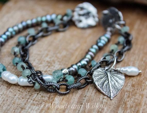 Silver Leaf Bracelet, Silver Charm Bracelet, Multi-Strand Bracelet, Aquamarine Bracelet, Pearl Bracelet, Woodland Bracelet