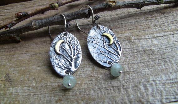 Sterling Silver Enchanted Forest Earrings, Crescent Moon Earrings, Aquamarine Earrings, Artisan Earrings, Branch Earrings, Tree Earrings