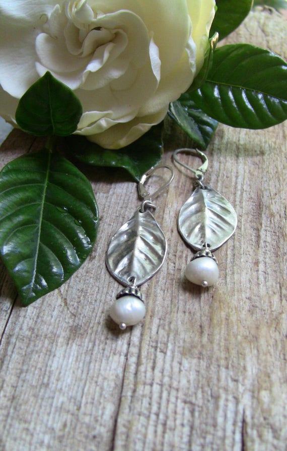 Sterling Silver Gardenia Leaf Earrings, Leaf Earrings, Baroque Pearl Earrings, Artisan Earrings, Garden Earrings
