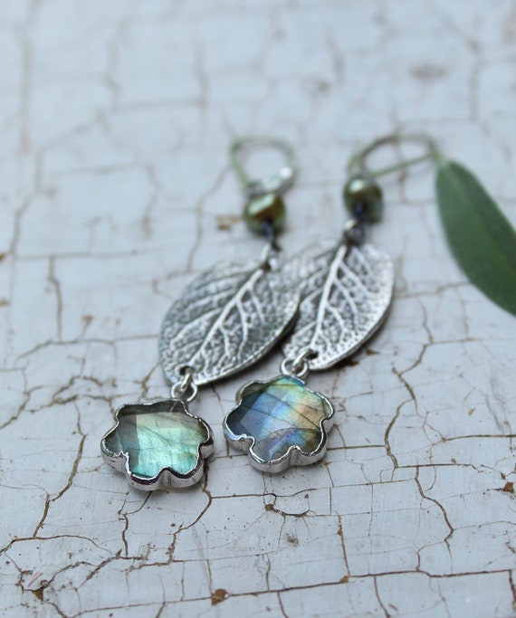 Sterling Silver Sage Leaf Earrings, Silver Labradorite Earrings, Artisan Earrings, Pearl Earrings