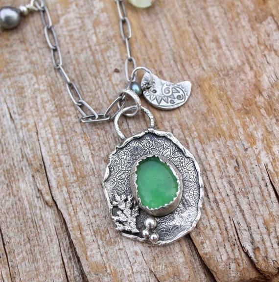 Sterling Silver Evergreen Necklace with Gemmy Serpentine Gemstone, Gemstone Necklace, Artisan Charm Necklace