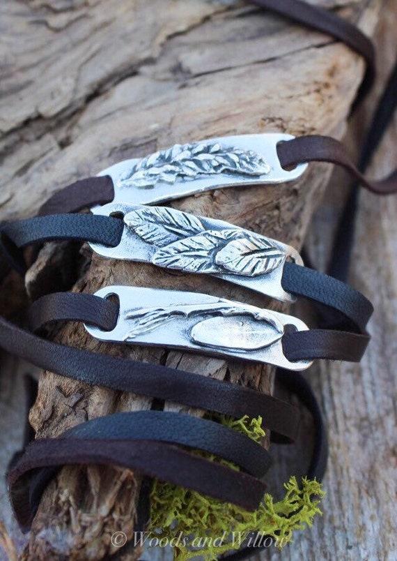 Silver Leaf Wrap, Garden Wrap Bracelet, Botanical Wrap Bracelet, Artisan Wrap, Brown Leather Wrap, Black Leather Wrap