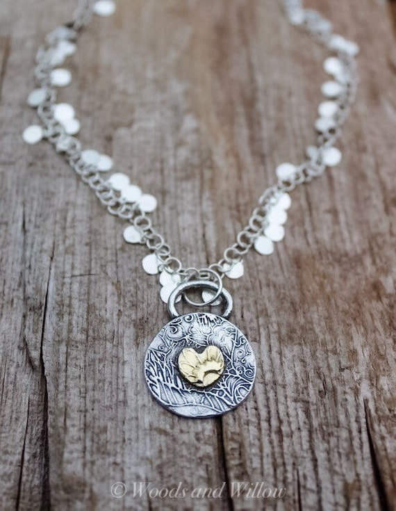 Gold Heart Necklace, Silver and Gold Necklace, Artisan Necklace Two Toned Necklace