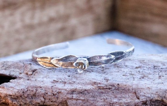 Silver Leaf Bracelet, Flower Cuff, Artisan Cuff, Floral Bracelet, Sterling Leaf Cuff, Botanical Cuff