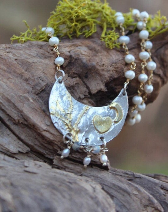Silver and Gold Necklace, Enchanted Forest Necklace, Branch Necklace, Artisan Necklace, Pearl Necklace, Forest Necklace, Nature Jewelry