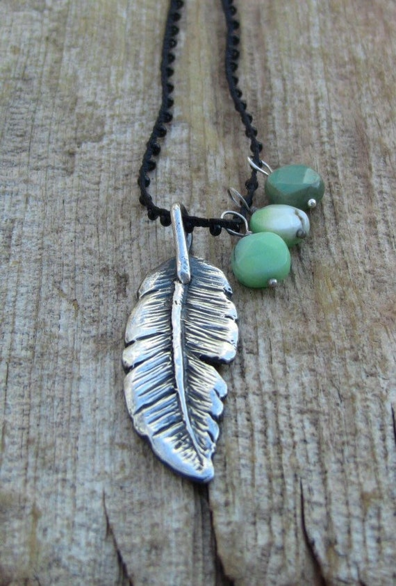 Sterling Silver Feather Necklace, Feather Necklace, Silver Feather Necklace, Turquoise Necklace, Long Feather Necklace