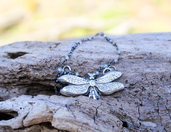 Sterling Silver Butterfly Necklace, Butterfly Necklace, Artisan Butterfly Necklace , Handmade Butterfly Necklace