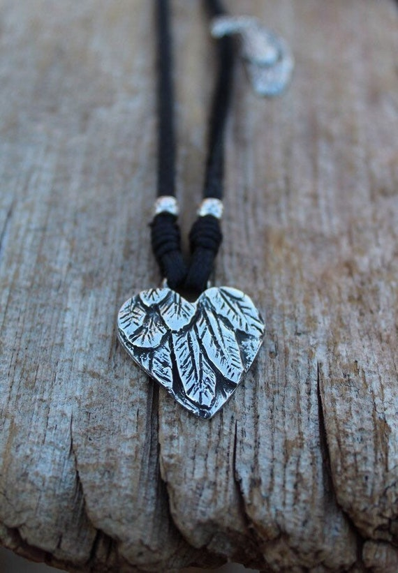 Sterling Silver Heart Necklace, Silver Feather Necklace, Leather Necklace, Silver Heart Necklace, Artisan Necklace