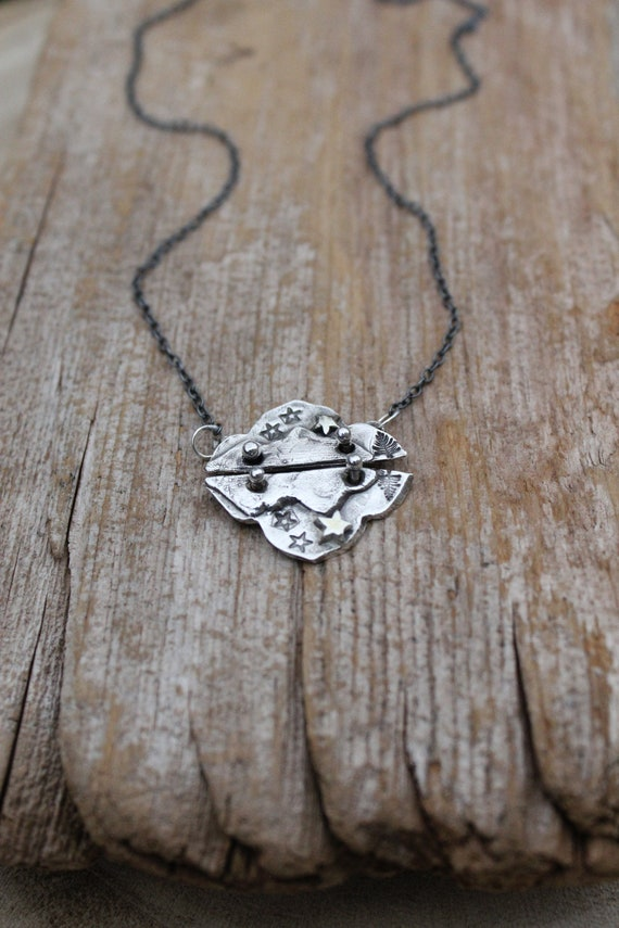 Sterling Silver Reflections Necklace with Mountains, Nature Lover Necklace, Tree Necklace, Outdoors Necklace