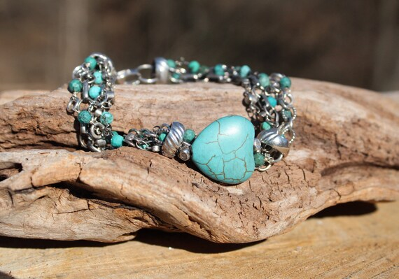 Silver Chain Bracelet, Turquoise Heart Bracelet, Boho Bracelet, Multi Chain Bracelet, Artisan Bracelet, Link Bracelet