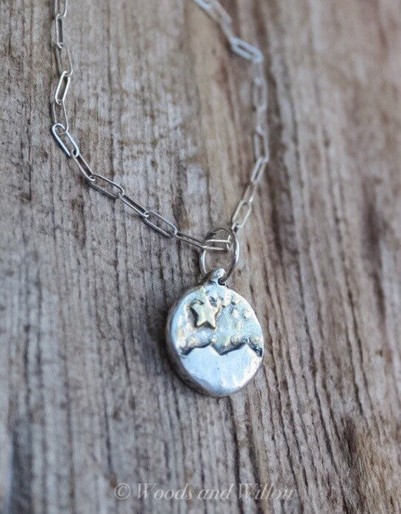 Silver Star Necklace, Mountain Necklace, Wish Necklace, Starry Night Necklace, Celestial Necklace