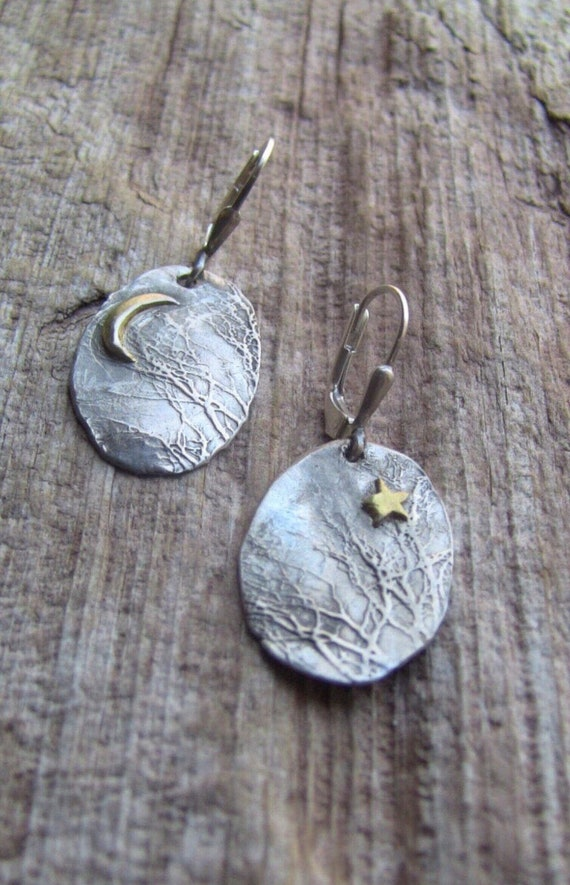 Sterling Silver Enchanted Forest Earrings, Branch Earrings, Gold Star Earrings, Crescent Moon Earrings