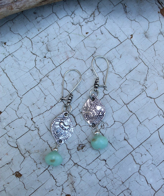 Peruvian Opal Lotus Earrings, Lotus Earrings, Artisan Earrings, Sterling Earrings, Dangle Earrings