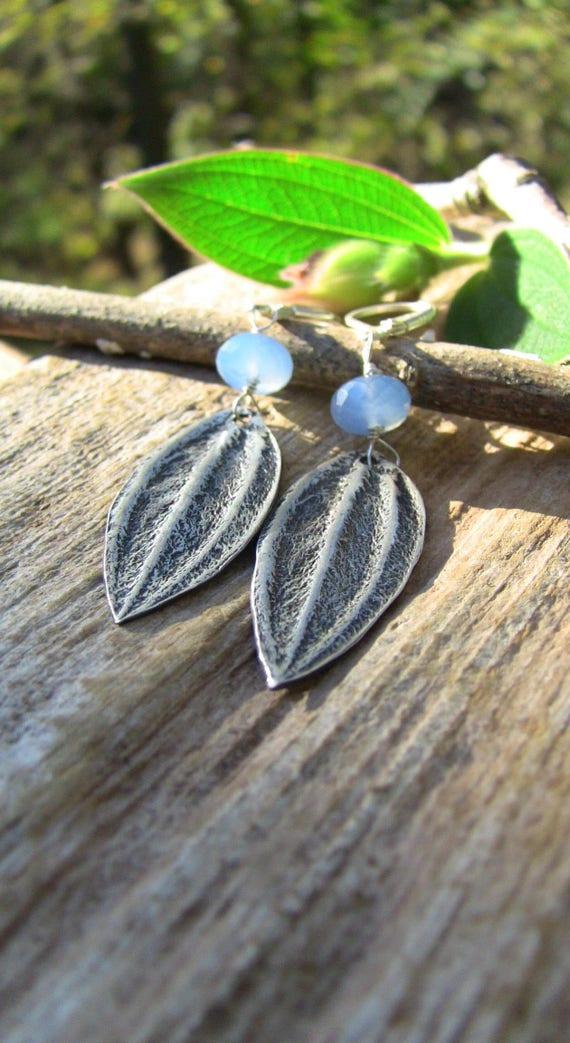 Sterling Silver Leaf Earrings, Blue Chalcedony Earrings, Botanical Earrings, Nature Earrings, Garden Earrings, Artisan Earrings