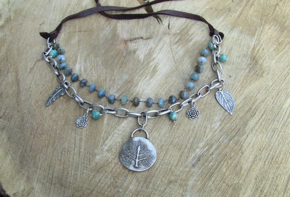 Silver Tree of Life Necklace, Boho Necklace, Moss Aquamarine Necklace, Leaf Necklace, Artisan Necklace, Leather Necklace