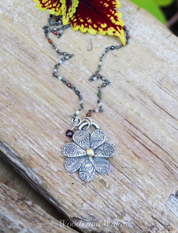 Sterling Flower Necklace, Silver Daisy Necklace, Paisley Necklace, Gemstone Necklace, Sterling and Gold Necklace, Botanical Necklace