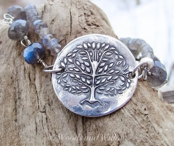 Tree of Life Bracelet in Fine Silver and Flashes of Top Quality Labradorites!  Artisan Bracelet, Handmade Bracelet