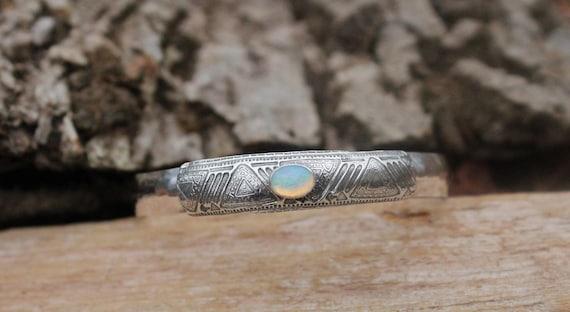Sterling Silver Cuff with Ethiopian Opal, Gemstone Cuff, Artisan Cuff, Opal Bracelet, Mandala Cuff, Yoga Cuff