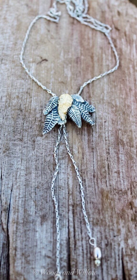 Sterling Silver Fern Necklace, Silver Lariat Necklace, Artisan Necklace, Lariat Necklace, Silver Leaf Necklace, Woodland Necklace