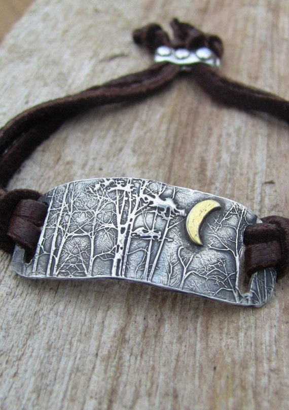"Sterling Silver Bracelet, ""Enchanted Forest Collection"", Woodland Jewelry, Gold and Silver Bracelet, Leather Bracelet"
