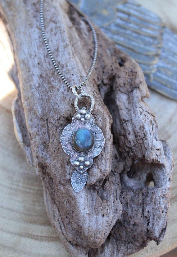 Sterling Silver Mandala Necklace with Labradorite, Artisan Necklace, Labradorite Necklace