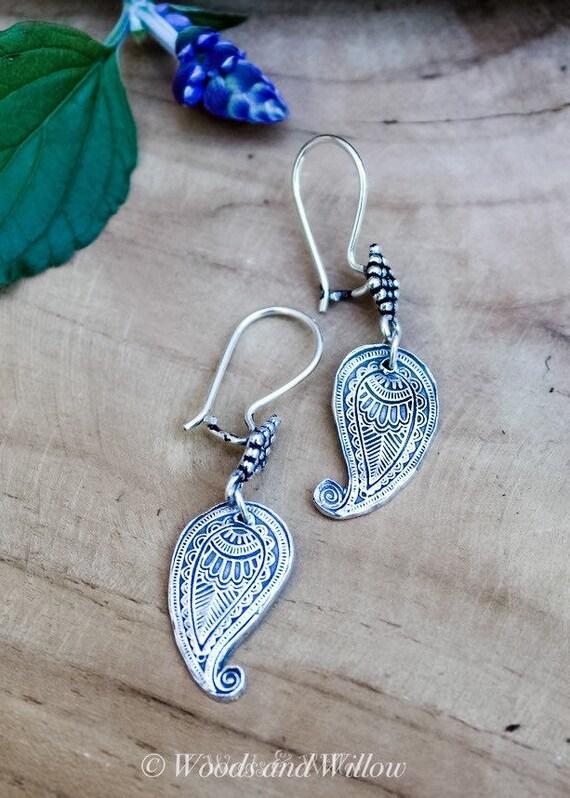 Silver Paisley Charm Earrings, Silver Earrings, Silver Drop Earrings, Artisan Earrings, Paisley Earrings