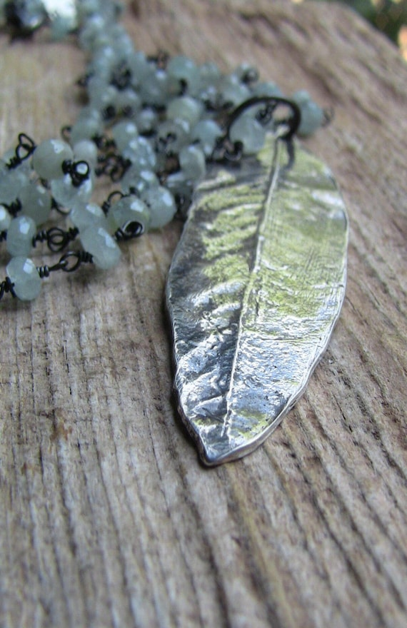 Sterling Silver Willow Leaf Necklace, Willow Necklace, Weeping Willow Necklace, Aquamarine Necklace, Botanical Necklace, Leaf Necklace