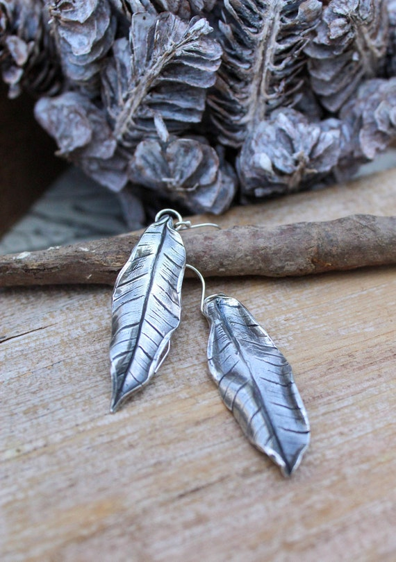 Sterling Silver Leaf Earrings, Banana Leaf Earrings, Artisan Earrings, Leaf Earrings, Tropical Earrings, Vacation Earrings