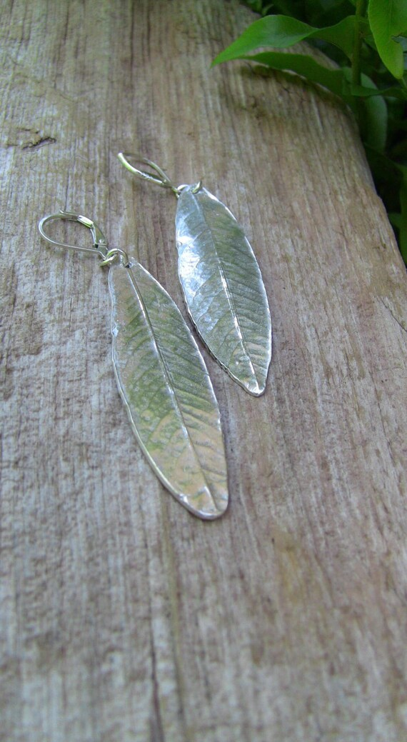 Sterling Silver Willow Leaf Earrings, Leaf Earrings, Silver Leaf Earrings, Weeping Willow Earrings, Handmade Earrings