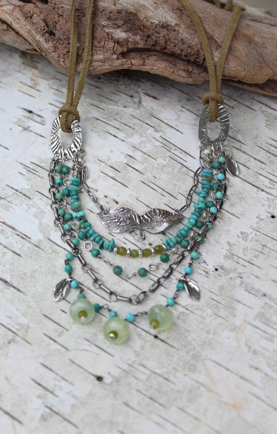 Multi Layered Necklace, Turquoise Necklace, Artisan Necklace, Prehnite Necklace, Boho Necklace