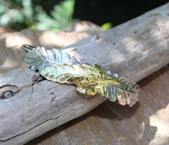Sterling Silver Leaf Cuff Bracelet, Leaf Cuff, Fern Bracelet, Artisan Bracelet, Two Toned Bracelet, Forest Bracelet