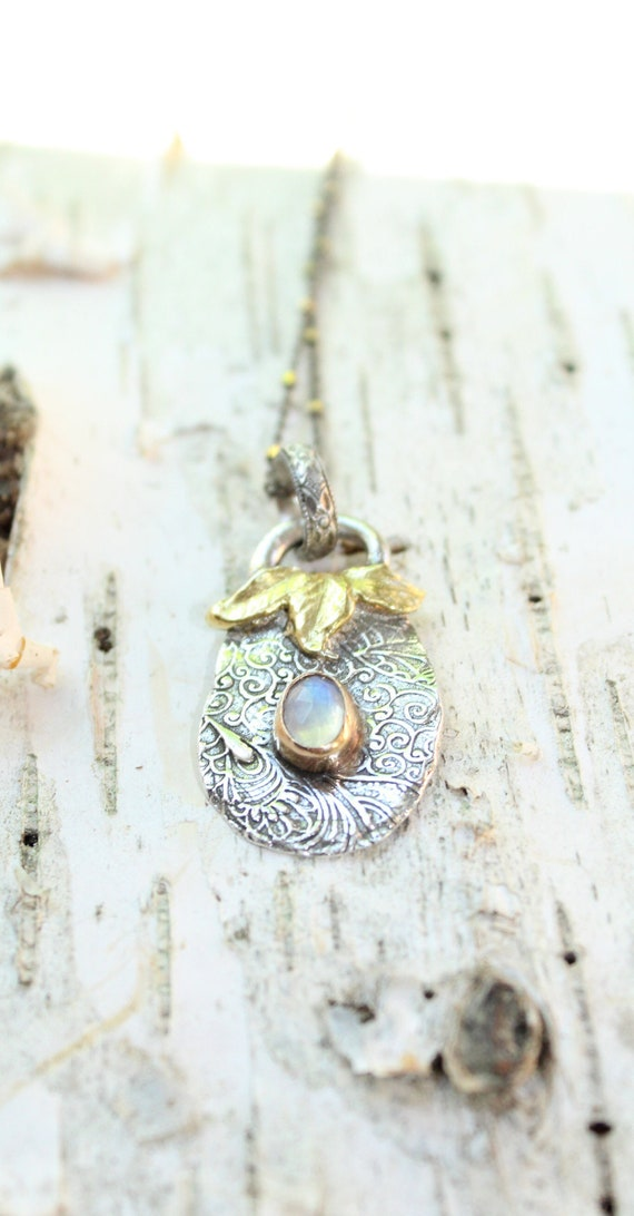 Silver and Gold Leaf Necklace, Artisan Necklace, Moonstone Necklace, Rainbow Moonstone Necklace, Leaf Necklace
