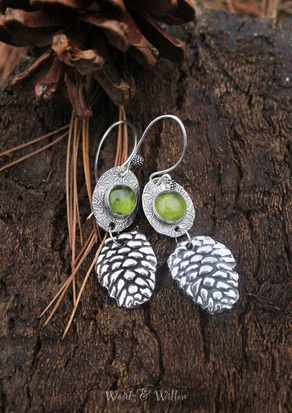Sterling Silver Pine Cone Earrings, Peridot Earrings, Woodland Earrings, Forest Earrings, Artisan Earrings