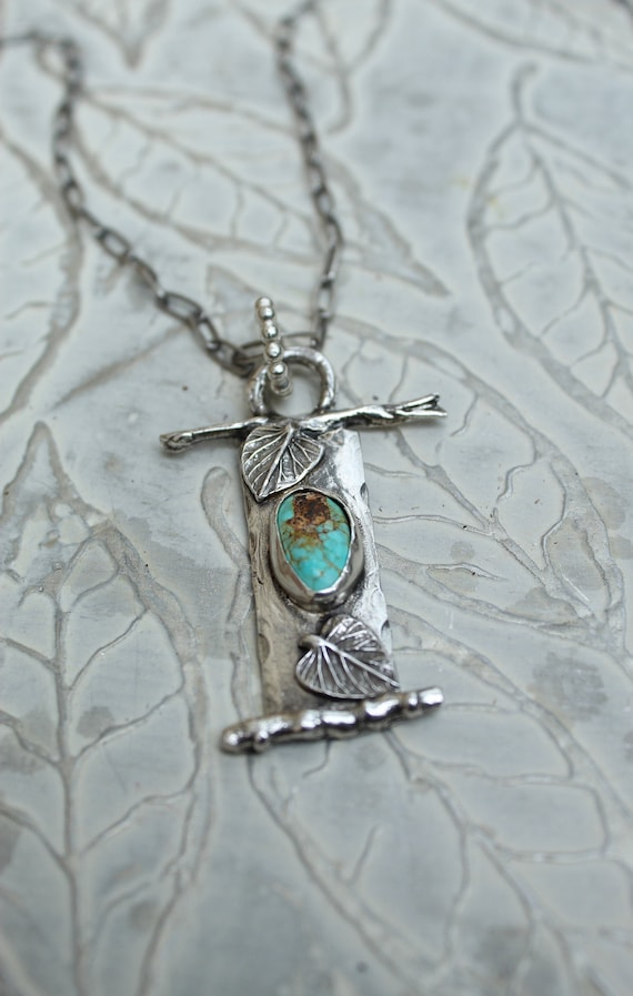 Sterling Silver Turquoise Leaf Necklace, Branch Necklace, Artisan Necklace