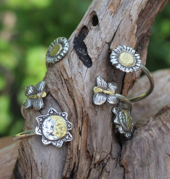 Secret Garden Cuffs, Nature Cuff Bracelet, Artisan Cuff Bracelets, Sun Cuff, Butterfly Cuff, Daisy Cuff, Flower Bracelet