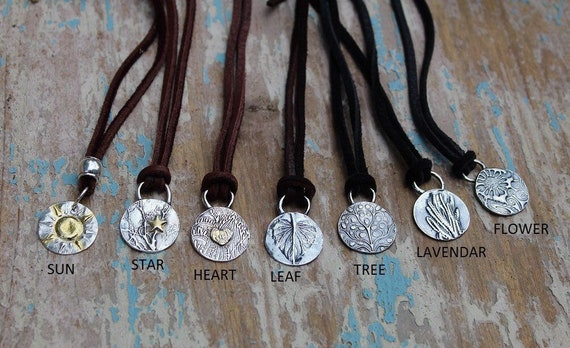 Sterling Charm Necklace, Leather Necklace, Celestial Necklace, Moon Necklace, Star Necklace, Heart Necklace, Gold and Silver Necklace