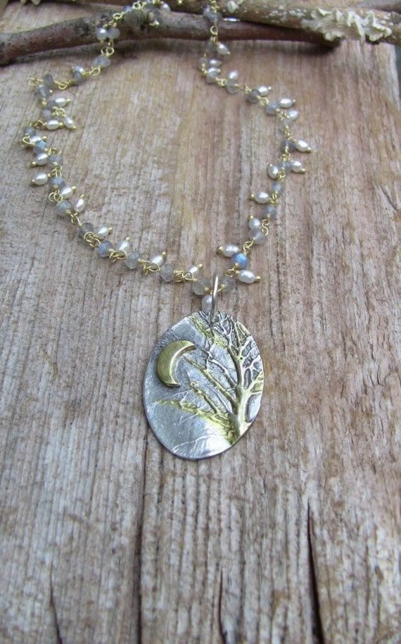 Sterling Silver Enchanted Forest Necklace, Pearl Necklace, Gold Branch Necklace, Tree Branch Necklace