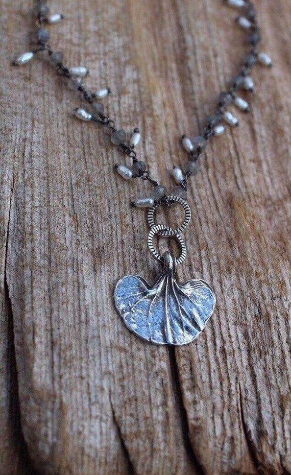 Sterling Silver Leaf Necklace, Silver Leaf Necklace, Laboradite Necklace, Pearl Necklace, Dichondra Leaf Necklace