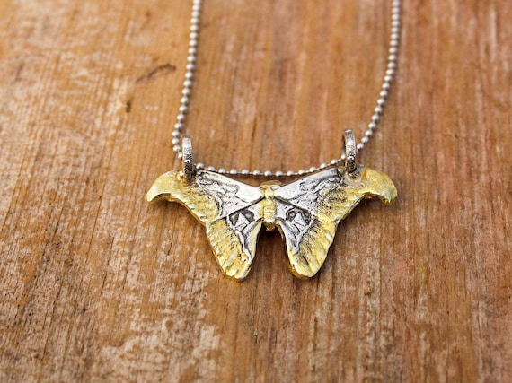 Sterling Silver Atlas Moth Necklace, Silver Butterfly Necklace, Gold Butterfly Necklace, Two Toned Necklace, Handmade Nature Necklace