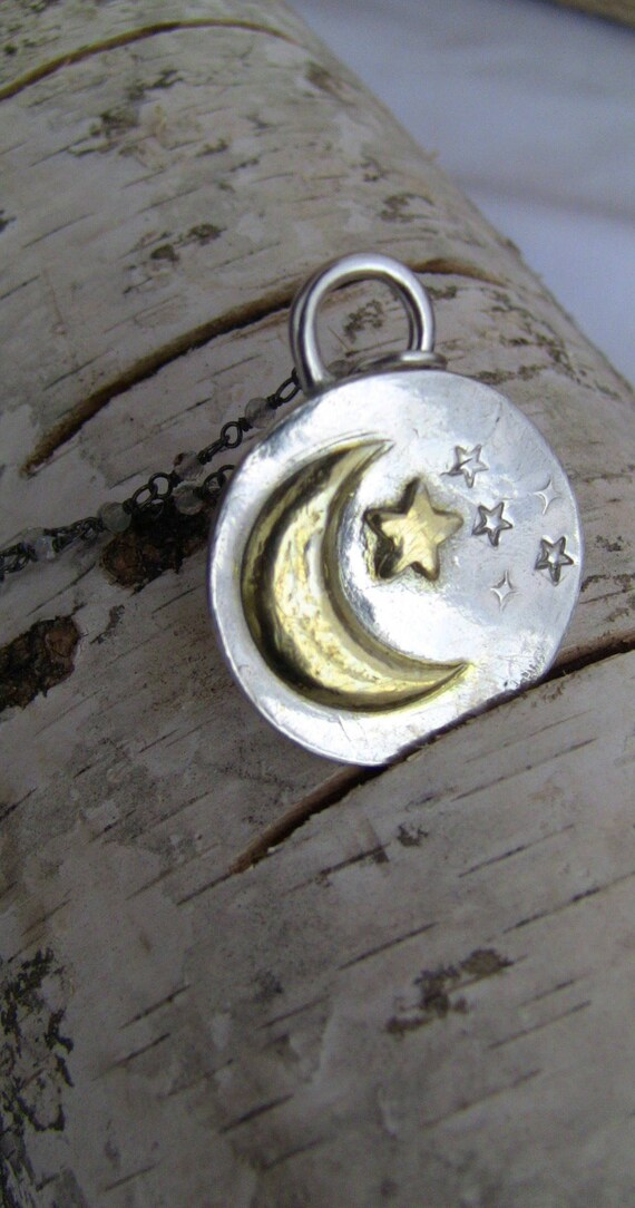 Celestial Necklace, Sterling Crescent Moon Necklace, Gold Moon Necklace, Gold Star Necklace