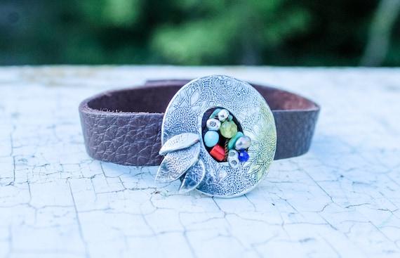 Sterling Silver Flower Disc Leather Cuff, Leather Bracelet, Artisan Bracelet, Silver and Stone Bracelet, Handmade Boho Bracelet