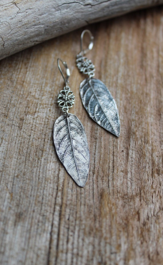 Silver Leaf Earrings, Silver Leaf, Leaf Earrings, Woodland Earrings, Sterling Leaves, Silver Leaves