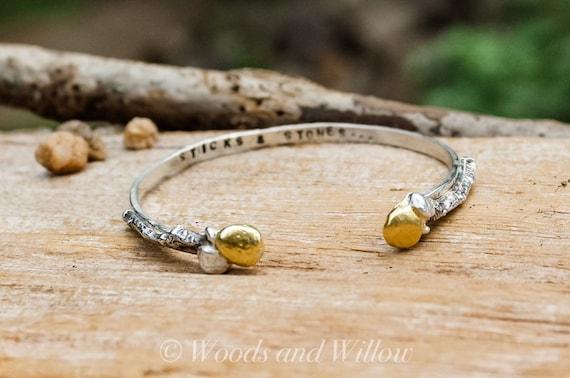 Silver Branch Bracelet, Sticks and Stones Bracelet, Artisan Bracelet, Gold and Silver Bracelet, Silver Cuff, Symbolic Bracelet
